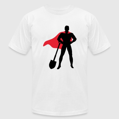 Builder - Superhero with shovel - Men's T-Shirt by American Apparel