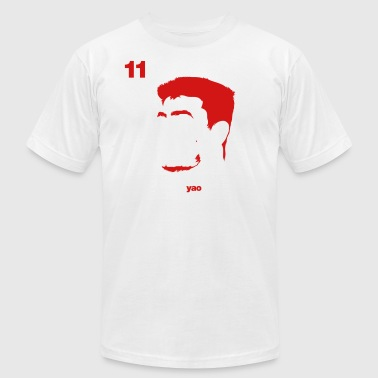 Yao Ming Portrait with Red94 logo - Men's Fine Jersey T-Shirt