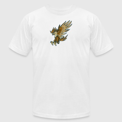 cartoon_falcon_or_hawk_swooping_or_diving - Men's T-Shirt by American Apparel