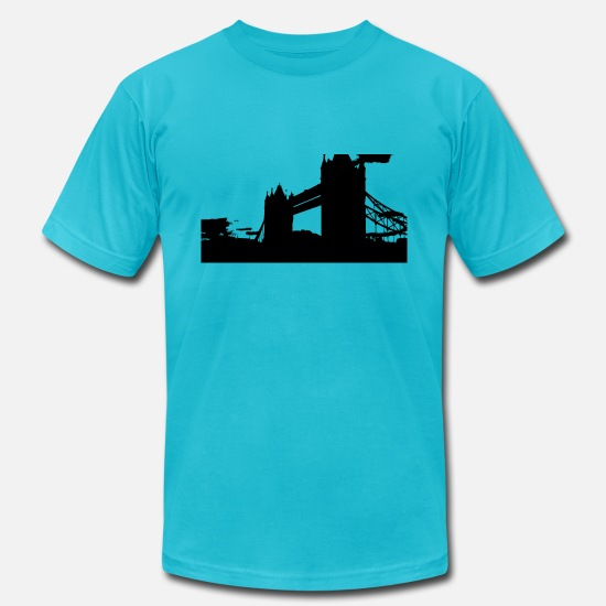 Black T-Shirts - Tower Bridge in London England black - Men's Jersey T-Shirt turquoise