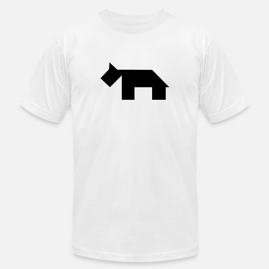 Black T-Shirts - Black dog Tangram - Men's Jersey T-Shirt white