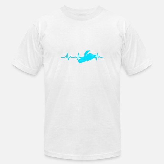 Heart Rate T-Shirts - Jetski Lover Watercraft Heartbeat Gift T-shirt - Men's Jersey T-Shirt white