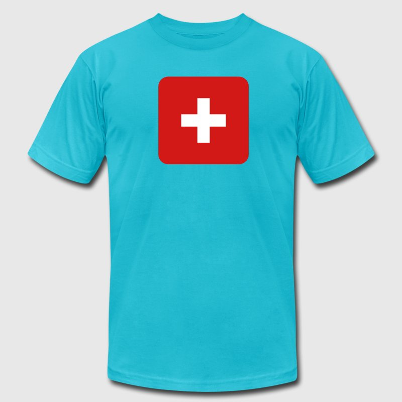 MEDIC white cross on a red button square rectangle - Men's Fine Jersey T-Shirt