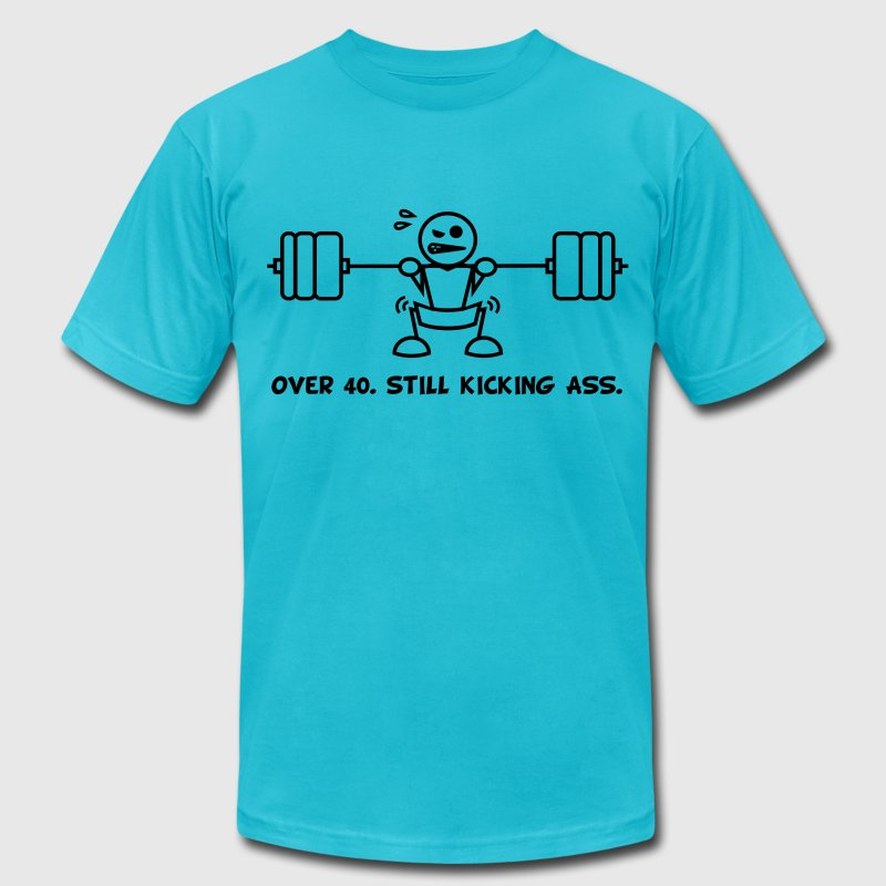 Over 40.  Still Kicking Ass. - Men's Fine Jersey T-Shirt
