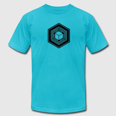 TESSERACT, Hypercube 4D, Crop Circle, 17th July 2010, Fosbury, Wiltshire, Symbol - Dimensional Shift - Men's Fine Jersey T-Shirt