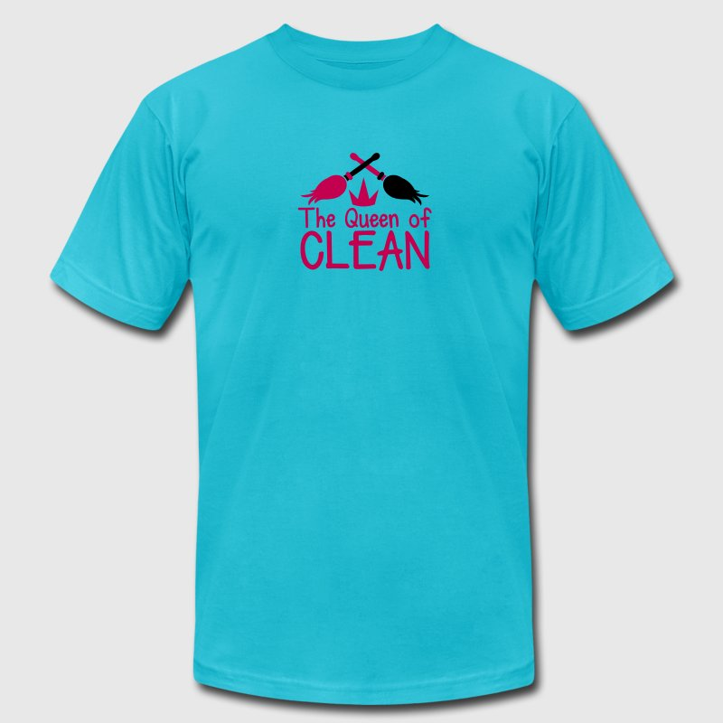 THE QUEEN of CLEAN! with feather dusters crown - Men's Fine Jersey T-Shirt