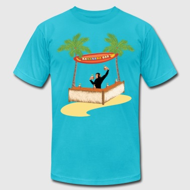 Monkey Bars Monkey at a beach bar - Men's Fine Jersey T-Shirt
