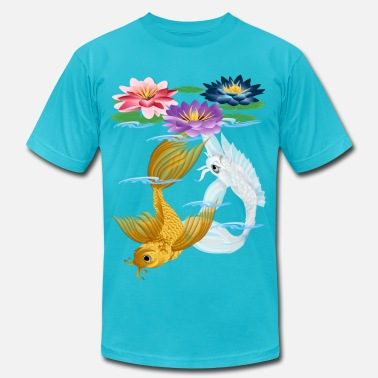 Koi Gold and Silver Koi with Lilies - Men's  Jersey T-Shirt