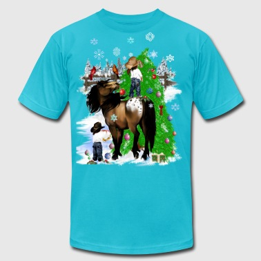 A Horse and Kid Christmas - Men's Fine Jersey T-Shirt