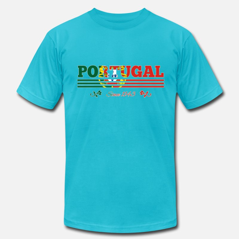 1143 T-Shirts - vintage colorized flag Portugal since 1143 - Men's Jersey T-Shirt turquoise