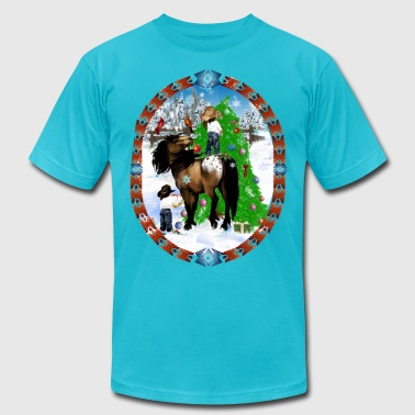 A Horse and A Kid Christmas Oval - Men's Fine Jersey T-Shirt
