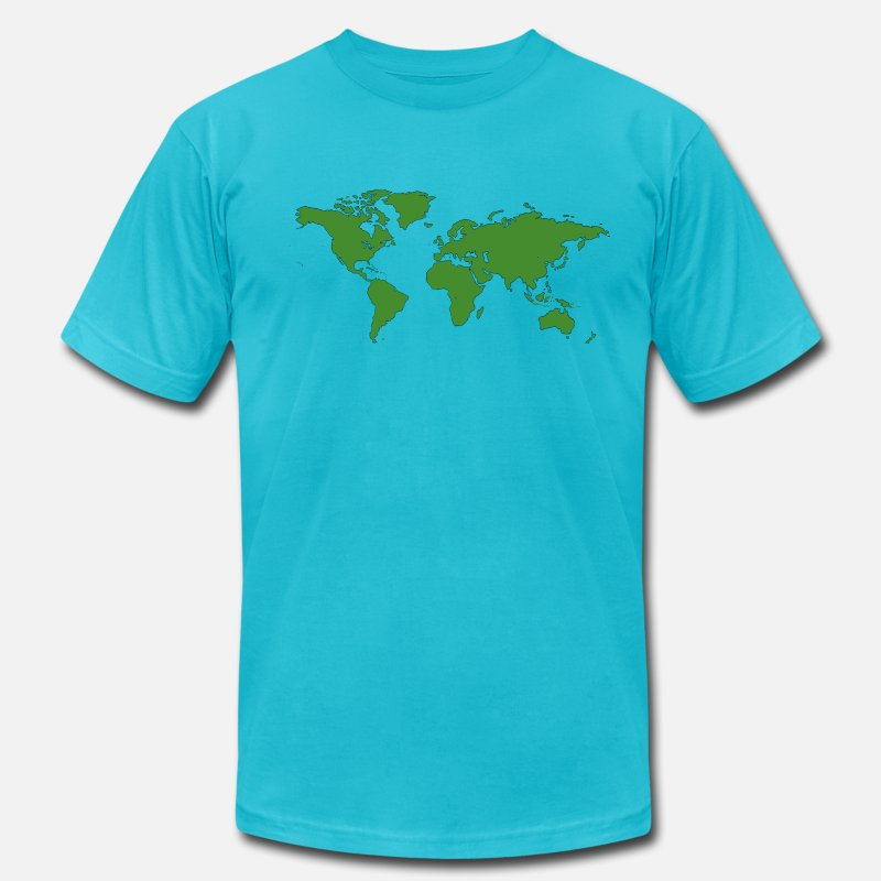 Schland T-Shirts - World Map - Men's Jersey T-Shirt turquoise