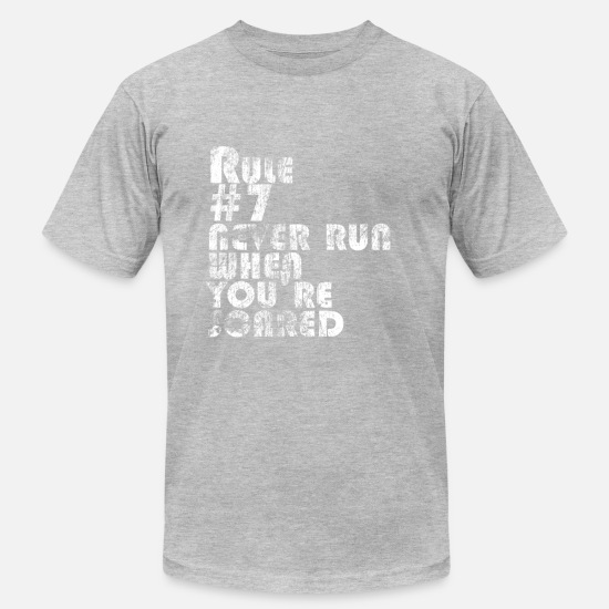 Number T-Shirts - Rule # 7: Never Run When You're Scared | Robot Plunger - Men's Jersey T-Shirt heather gray