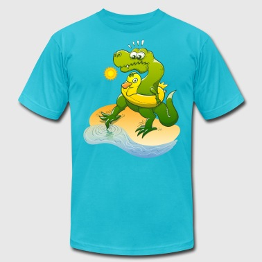 Tyrannosaurus Rex Dipping Toe in Water - Men's Fine Jersey T-Shirt