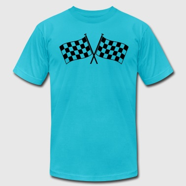 Match Racing two checkered flags RACING MOTOR SPORTS - Men's Fine Jersey T-Shirt