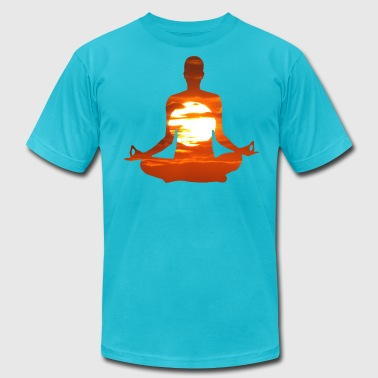Meditation Sun Man meditating yoga in the evening sun 01 - Men's Fine Jersey T-Shirt