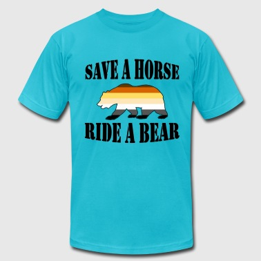 Gay Bear Pride Flag Save a Horse Ride a Bear - Men's Fine Jersey T-Shirt