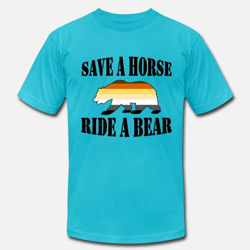 Bear T-Shirts - Gay Bear Pride Flag Save a Horse Ride a Bear - Men's Jersey T-Shirt turquoise