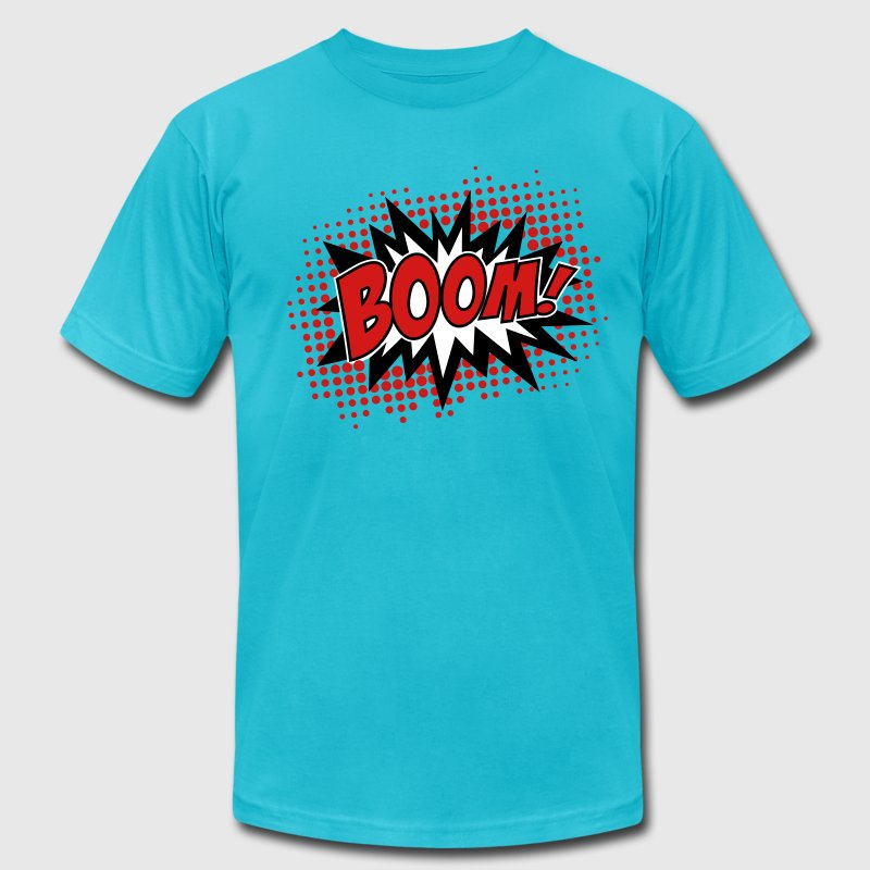 BOOM, comic, speech bubble, cartoon, balloon, dots - Men's Fine Jersey T-Shirt
