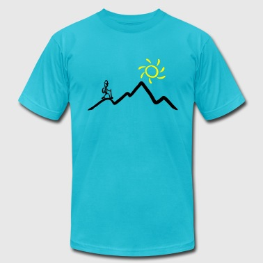 Stickman hiking on the mountains & sunshine - Men's Fine Jersey T-Shirt