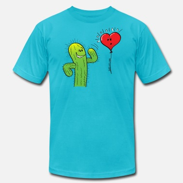 Cactus Heart Cactus Flirting with a Heart Balloon - Men's  Jersey T-Shirt