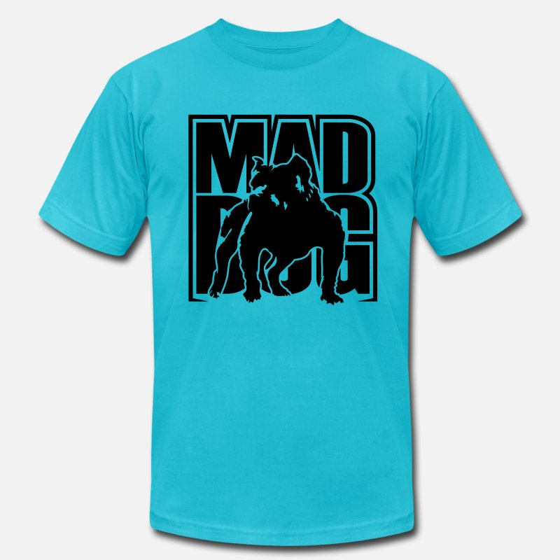 Dog T-Shirts - Mad dog - Men's Jersey T-Shirt turquoise