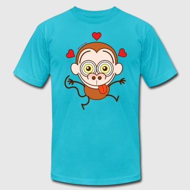 Crazy monkey falling in love - Men's Fine Jersey T-Shirt