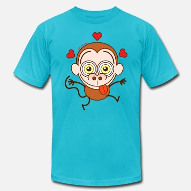 Big Bulge Crazy monkey falling in love - Men's  Jersey T-Shirt