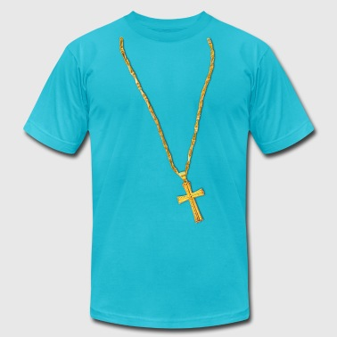 Hip Hop Christian Long Gold Chain and Cross - Men's Fine Jersey T-Shirt