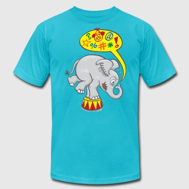 Circus Elephant Saying Bad Words - Men's Fine Jersey T-Shirt