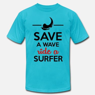 Dirty Sayings Satire Sex and surfers - Save Water ride a surfer - Men's Fine Jersey T-Shirt