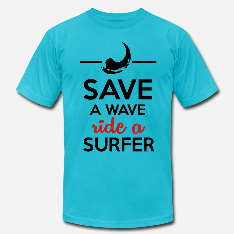 Dirty T-Shirts - Sex and surfers - Save Water ride a surfer - Men's Jersey T-Shirt turquoise