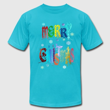 A Colorful Merry Christmas - Men's Fine Jersey T-Shirt