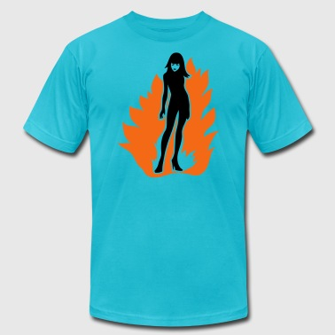 Mature Provocative woman sexy playing with fire - Men's Fine Jersey T-Shirt