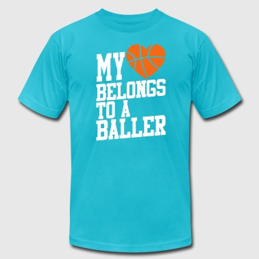 My Heart Belongs To A Baller my heart belongs to a baller - Men's Fine Jersey T-Shirt