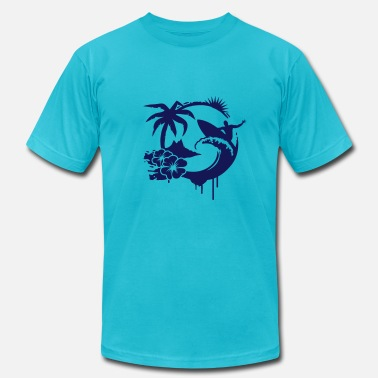 Waves Graffiti Surfing graffiti - Palm, hibiscus, island, wave and surfer with surfboard  - Men's  Jersey T-Shirt