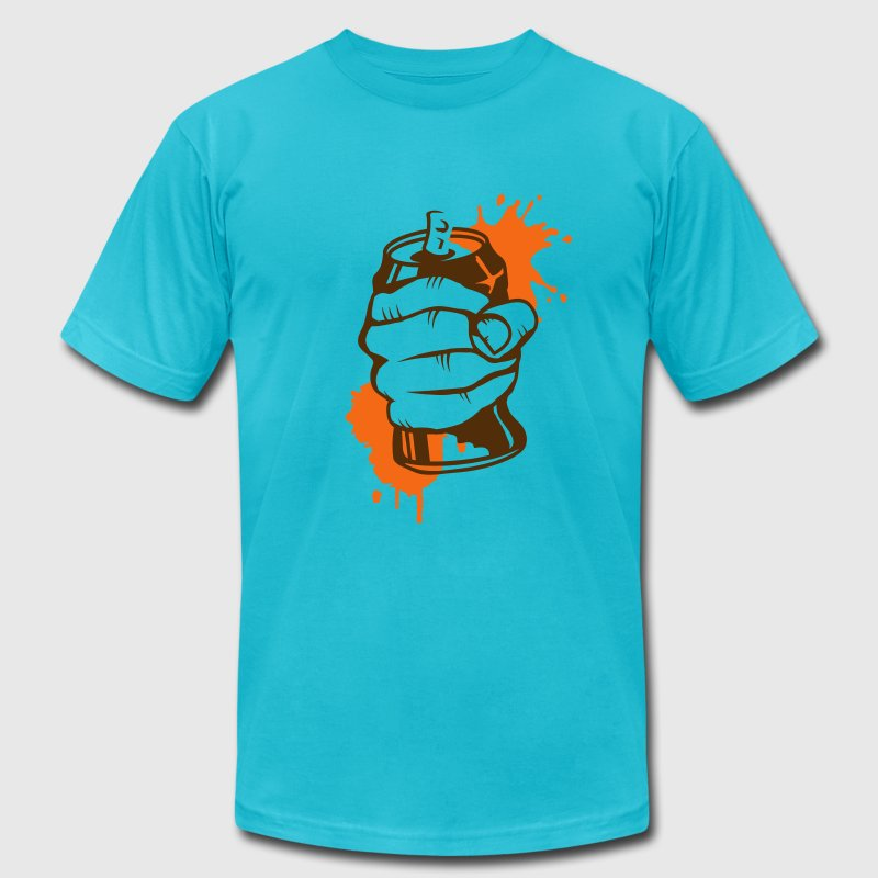 a hand crushing a soda can - Men's Fine Jersey T-Shirt