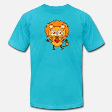Big Bulge Brave lion falling madly in love - Men's  Jersey T-Shirt