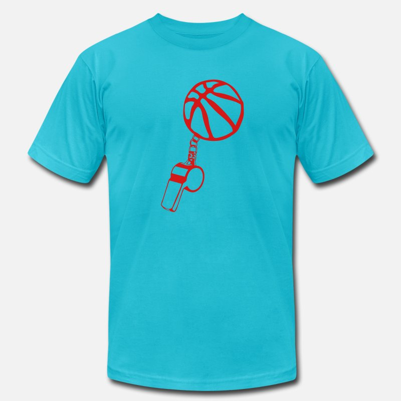 Basketball T-Shirts - basketball referee whistle sports ball - Men's Jersey T-Shirt turquoise