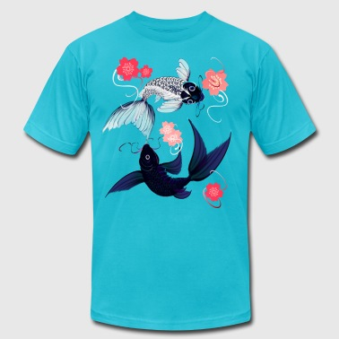 Yin and Yang Koi and Cherry Blossoms - Men's Fine Jersey T-Shirt