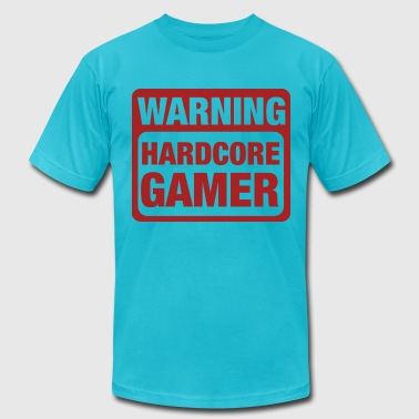 Warning Hardcore Gamer - Men's Fine Jersey T-Shirt