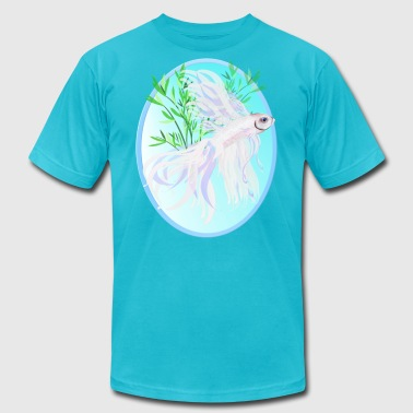 White Siamese Fighting Fish Oval - Men's Fine Jersey T-Shirt