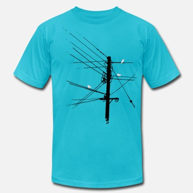 Telephone Pole Birdz - Men's Fine Jersey T-Shirt