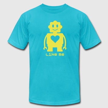 Cute robot with heart 1c - Men's Fine Jersey T-Shirt