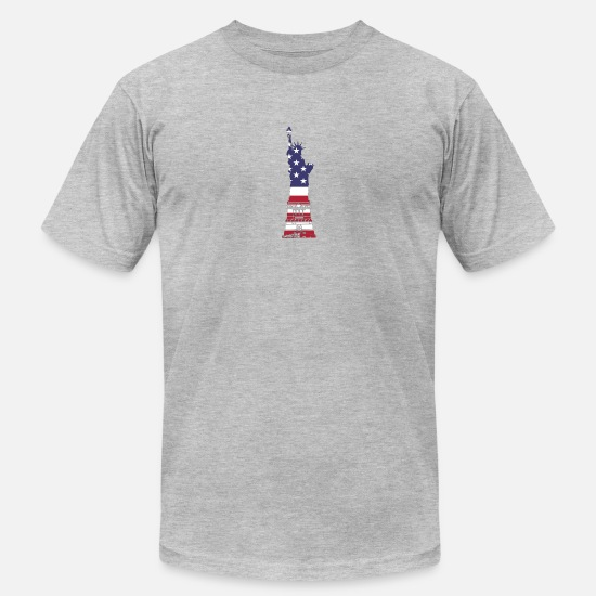 Statue Of Liberty T-Shirts - Statue of Liberty, Stars and Stripes - Men's Jersey T-Shirt heather gray