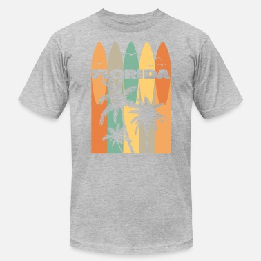Florida Palm Tree Florida Palm Trees & Seagulls & Surfboards - Men's Jersey T-Shirt
