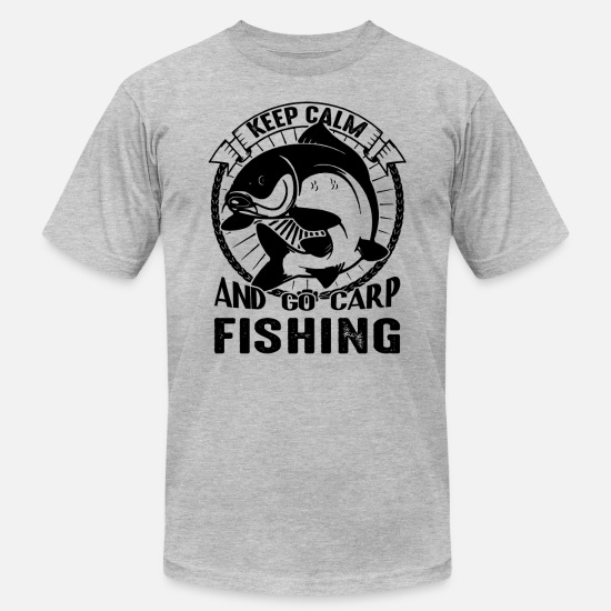 Carp T-Shirts - Go Carp Fishing Shirt - Men's Jersey T-Shirt heather gray
