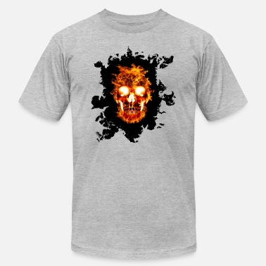 Skull Fireman Skull On Fire - Men's  Jersey T-Shirt