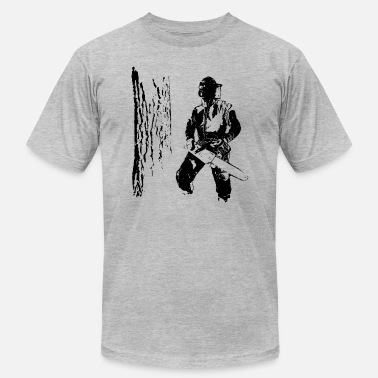 Chainsaw Forestry worker with oak tree - Men's  Jersey T-Shirt