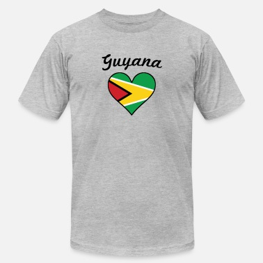 Flag Of Guyana Guyana Flag Heart - Men's  Jersey T-Shirt